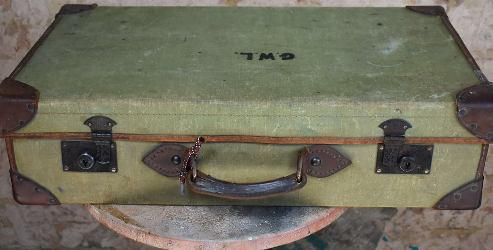 Vintage Military Leather Canvas Suitcase Travel Case Vintage Prop Staging GWL