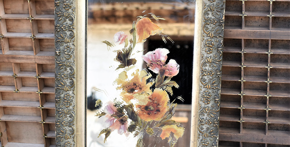 Antique Late 19th Century Floral Painting on Mirror Carved Frame