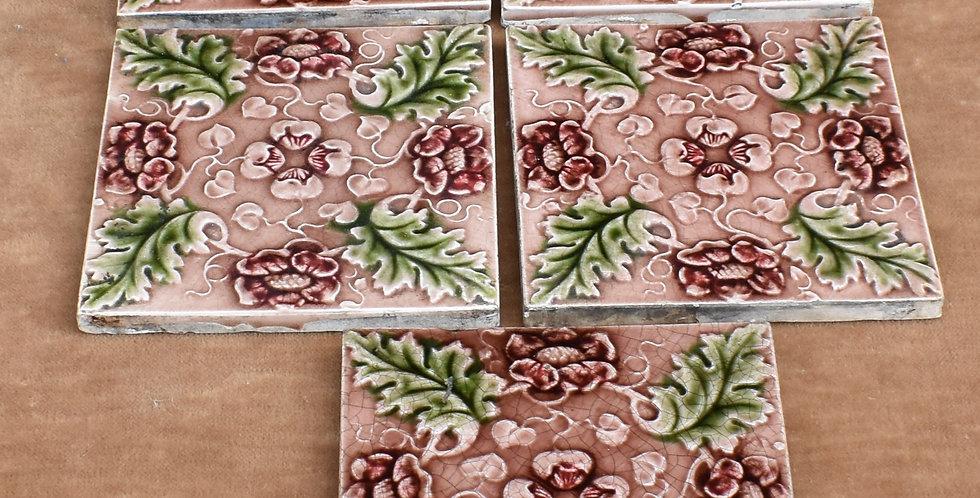 Antique 1900s Majolica Art Nouveau Tiles England Relief Moulded FIve Mauve Green