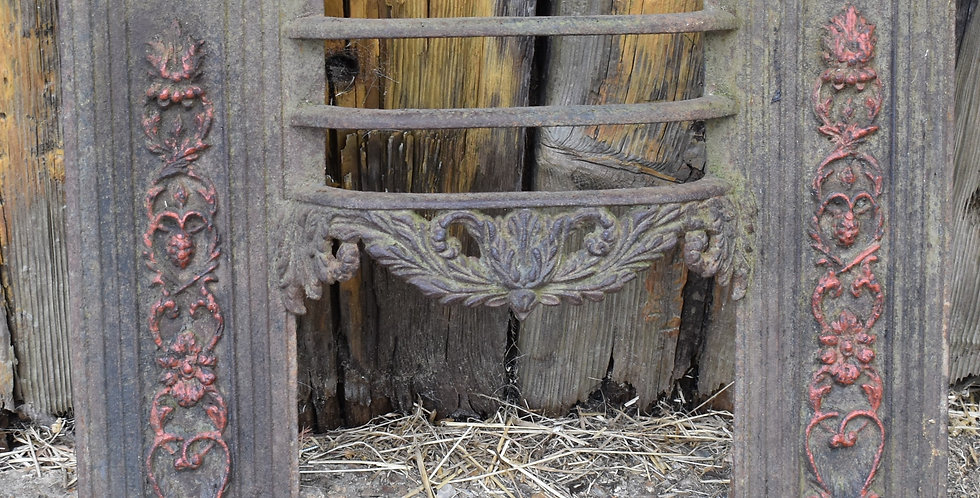 Antique Victorian Cast Iron Open Fire Front Grate Reclaim Salvage