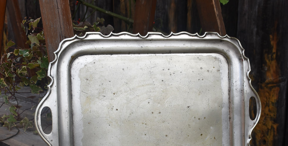 Antique Victorian Ornate Edged Silver Plate Tray Walker & Hall Sheffield