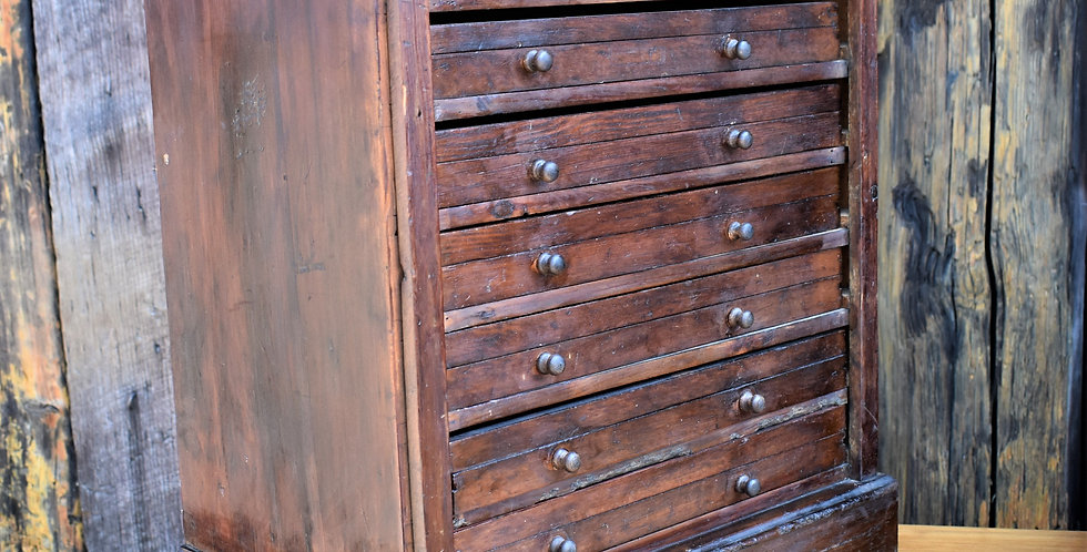 Antique Mahogany Specimen Cabinet Bank of Drawers