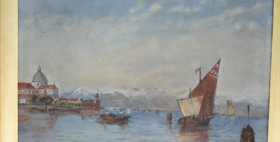 Antique Original Seascape painting Boat Gilt Framed Oil on Canvas Wall Art