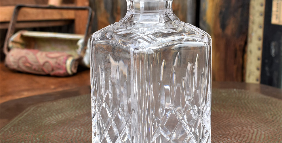 Vintage Stuart Lead Crystal Square Decanter in the Shaftesbury Design