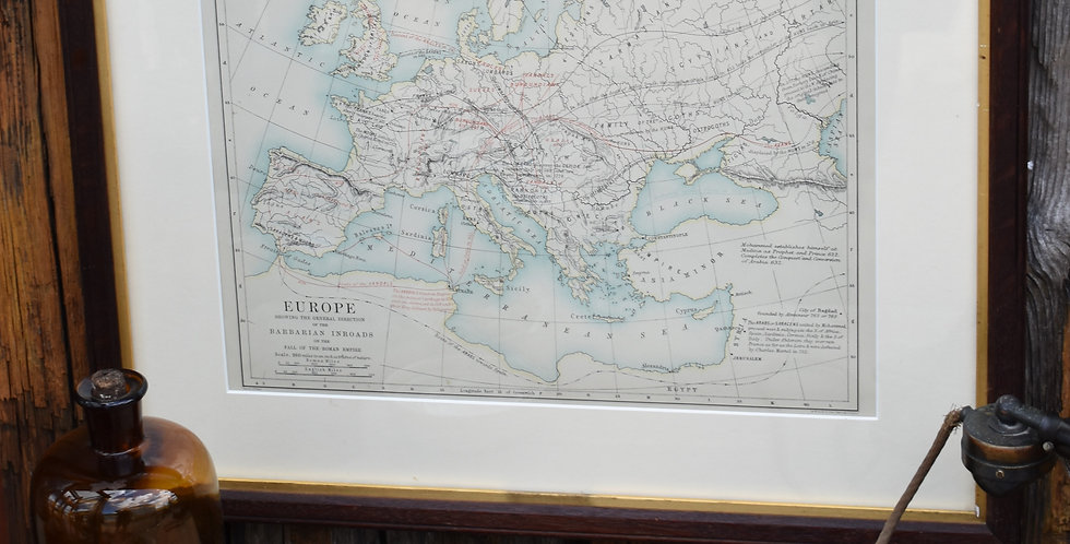 Antique 1891 Europe Map Barbarian Roman Empire Old Oak Framed Colour Plate Print