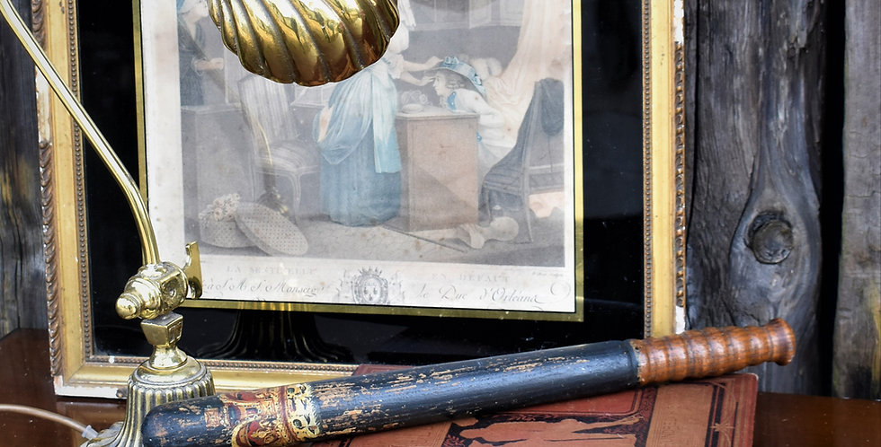 Antique Victorian Police Truncheon Hand Painted Crown