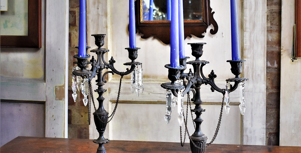 Antique Decorative Spelter Metal Candelabra With Lead Crystal Lustre Drops Pair
