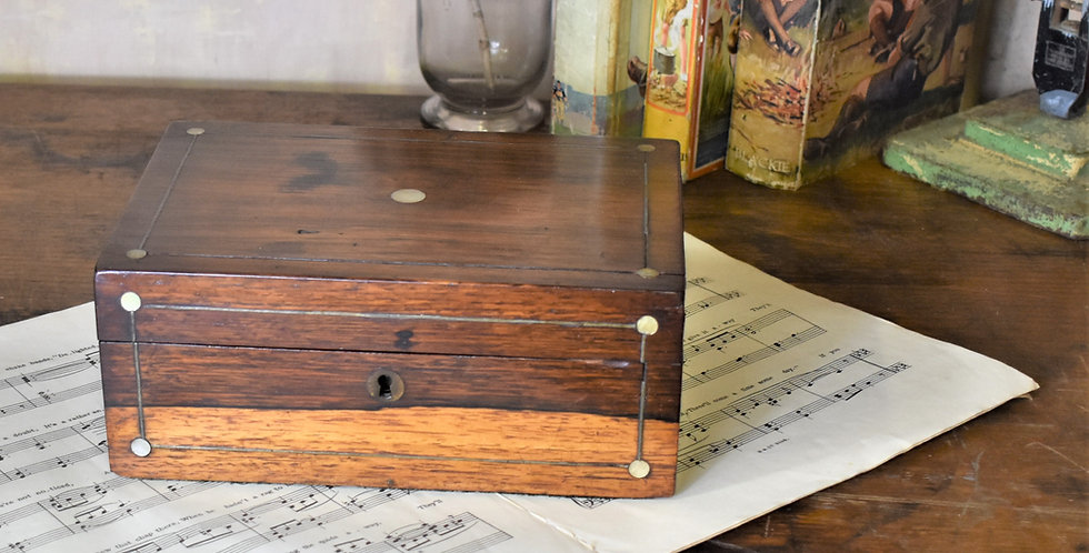 Antique 19th Century MOP Inlaid Rosewood Needlework Sewing Box with Contents