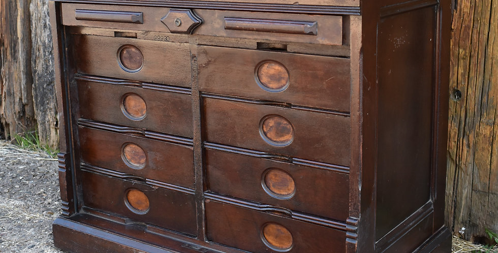 Antique Mahogany Tambour Amberg Victorian Filing Cabinet 1900 Bank of Drawers