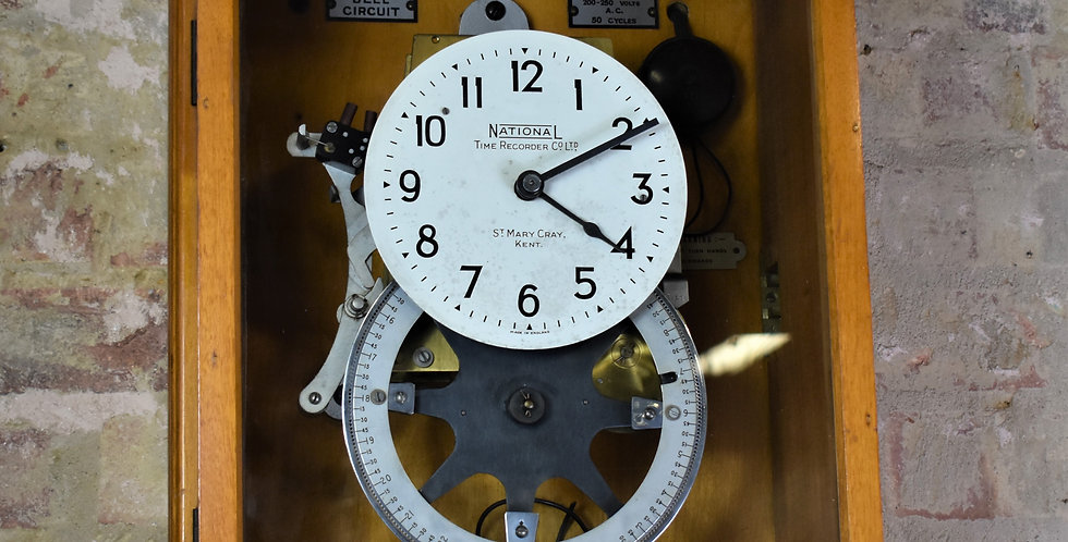 Antique Vintage National Time Recorder Clock In Electric Bell Timer Wall Clock