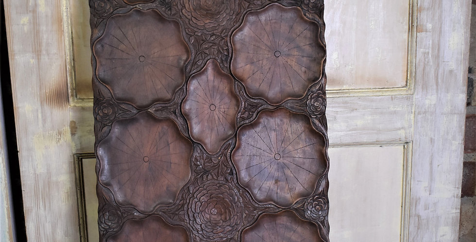 Antique 19th Century Hand Carved Lotus Water Lily Pad Oriental Tray Platter