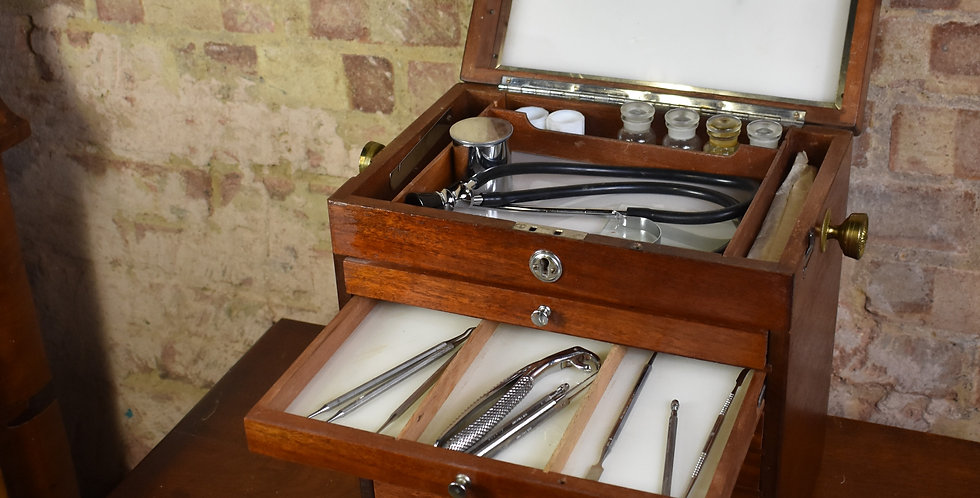 Antique Vintage Dentists Medical Cabinet Bank of Drawers With Contents