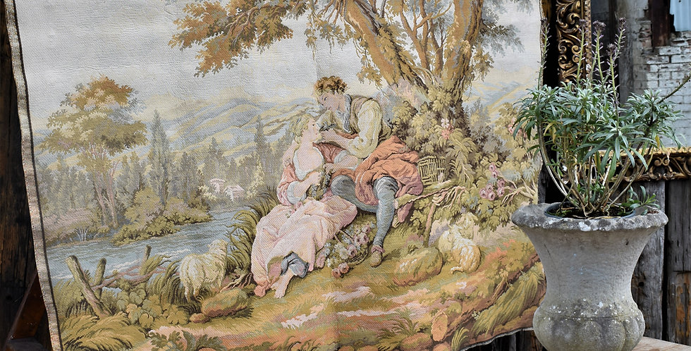 Vintage Noble Pastorale Francois Boucher Tapestry Style Italian Wall Hanging Art