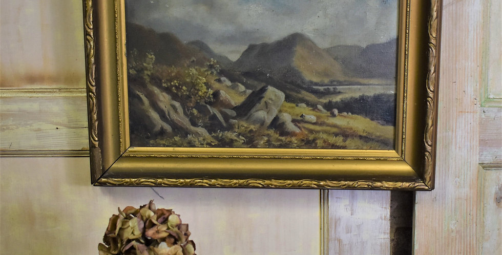 Antique Moody Oil Canvas Painting Landscape Moorland Gilt Frame English School