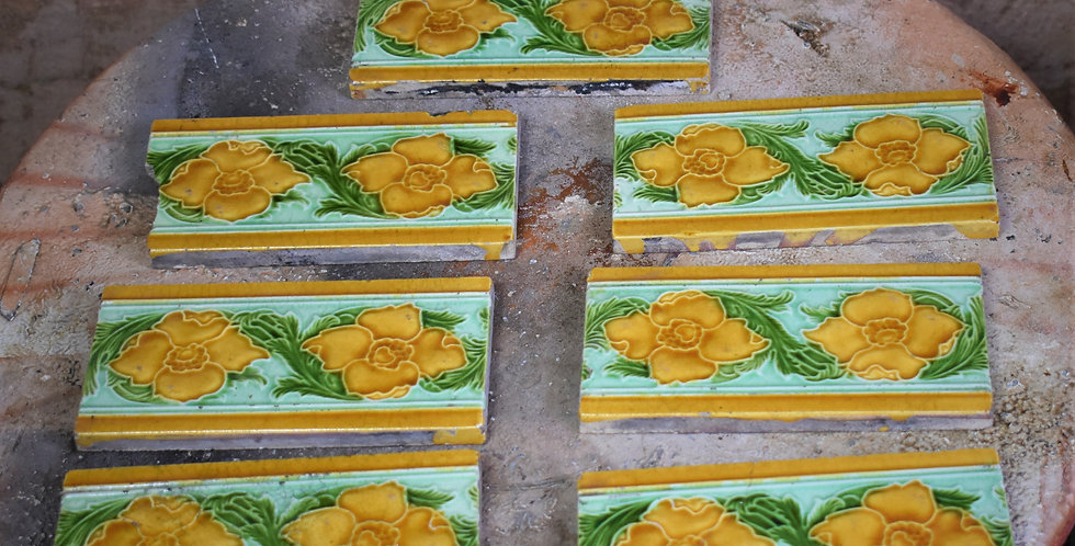 Antique 1900s Lee & Bolton Majolica Art Nouveau Tiles Relief Moulded x 7