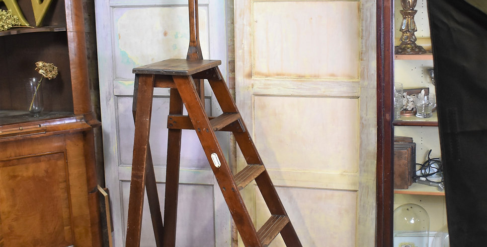 Antique 1920  H.C Slingsby Ladder Library Steps Pitch Pine Interior Shop Display