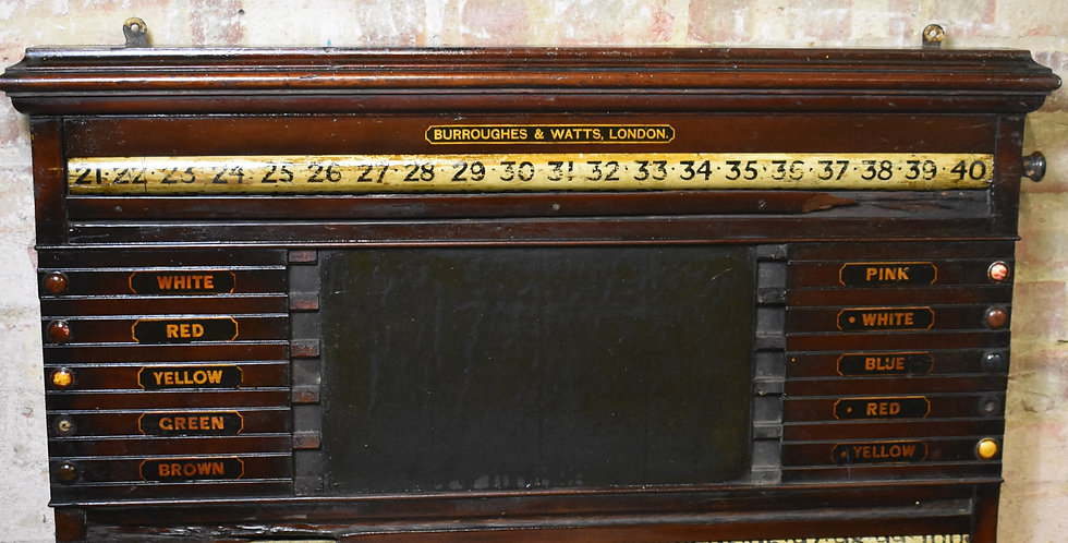 Antique Edwardian Snooker Scoreboard Burroughes and Watts Billiards Mahogany