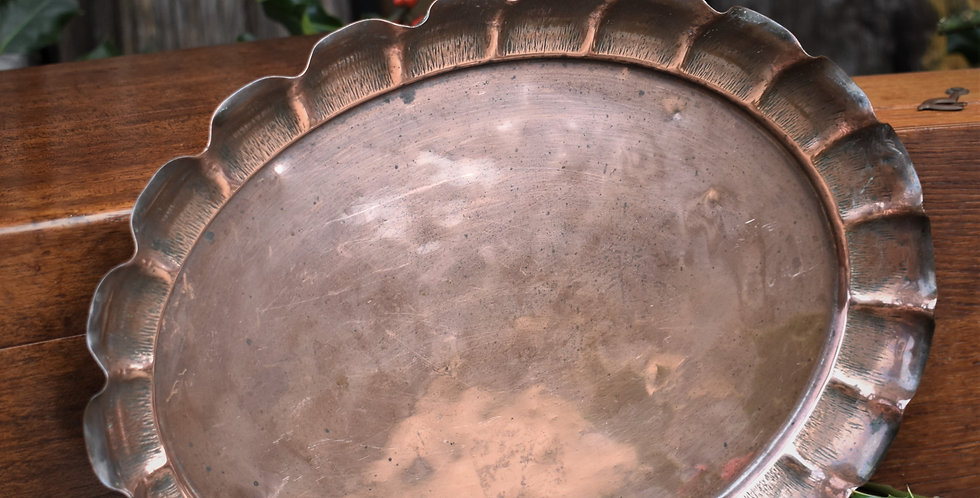 Antique Joseph Sankey Medium Copper Tray Bark Design Edge Birmingham England