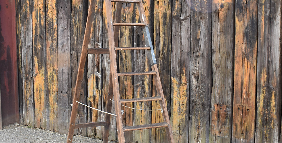Antique Vintage Wooden Very Tall Fruit Pickers Ladder 2.5m Height Shop Display