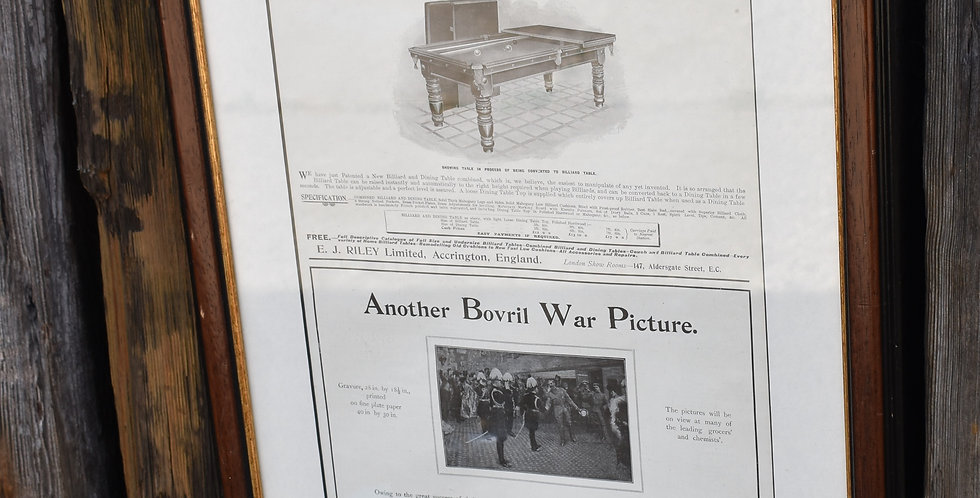 Vintage 1902 The Graphic Advertising Article Billiards Bovril Framed Print