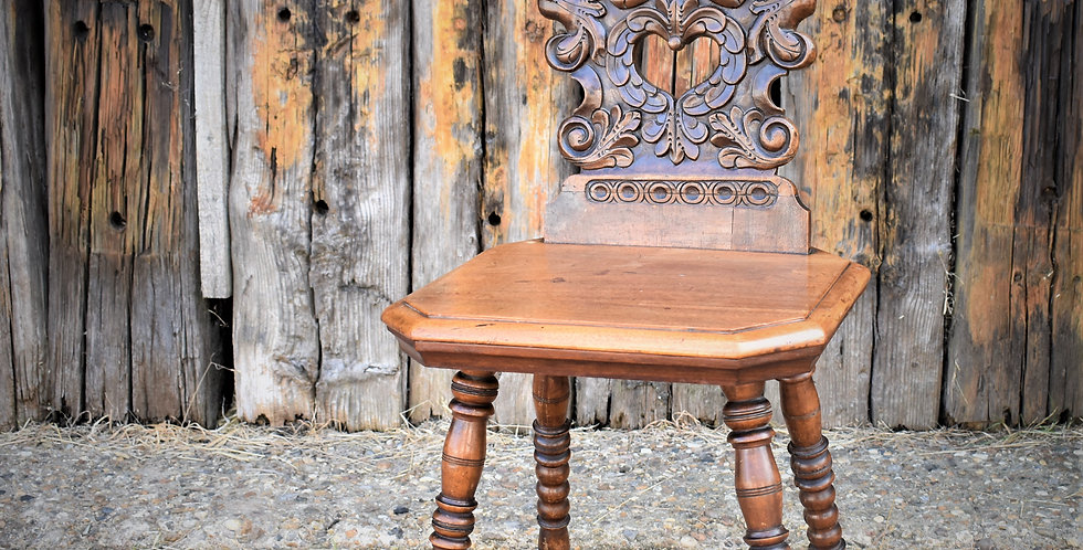 Rare Antique 19th Century Black Forest Carved Hall Chair Bobbin Turned Legs
