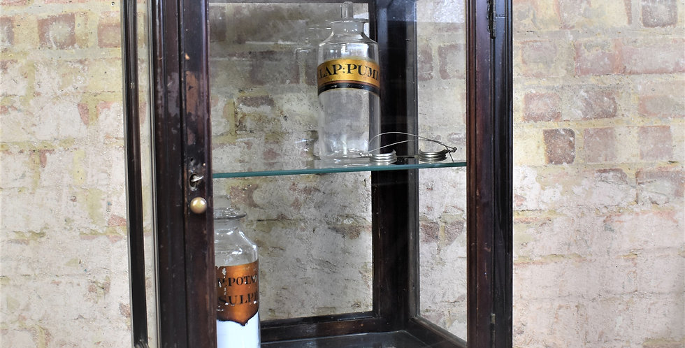 Antique Victorian Glazed Cabinet Mahogany Display Shop Counter Top Cabinet