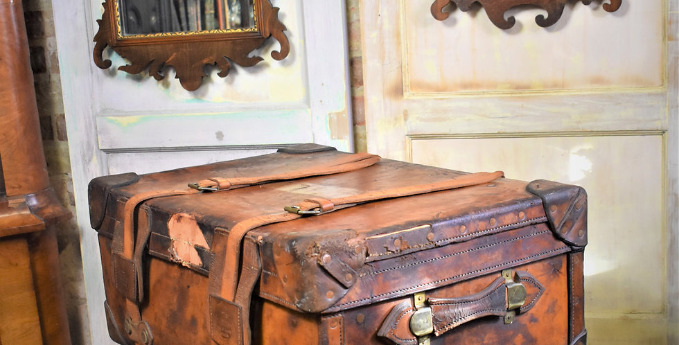 Antique Victorian Leather Travel Case Trunk Samuel Fisher The Strand London