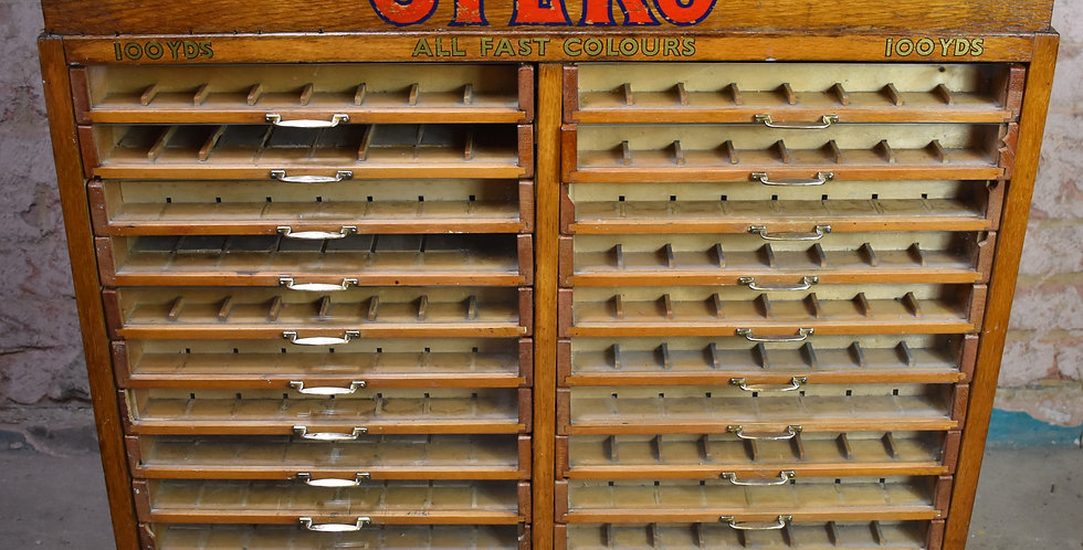 Antique Sylko Cotton Haberdashery Shop Cabinet Collectors Bank of Drawers