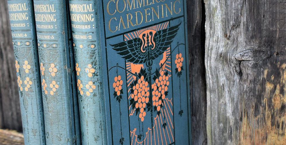 Antique 1913 Commercial Gardening John Weathers Embossed Cover Books 3 Vols