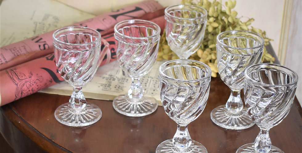 Vintage Pressed Glass Drinking Glasses French Port Liqueur Set of Six
