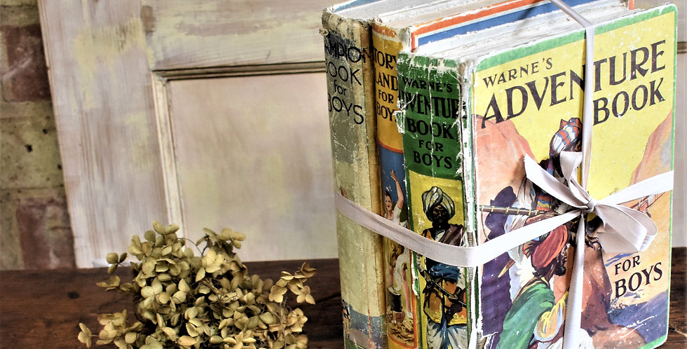 Vintage Retro Boys Annual Books Trio Bundle Collectable for Display Staging