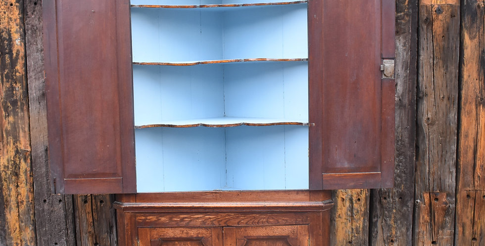 Antique Oak English Georgian Corner Cupboard Kitchen Cabinet Storage