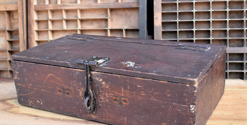 Vintage Wooden Artist Craft Tool Box with Metal Catch
