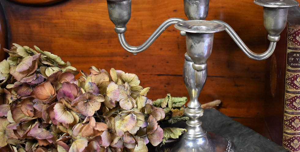 Antique Vintage Candelabra Silver Plate Small Candlesticks Candle Holder
