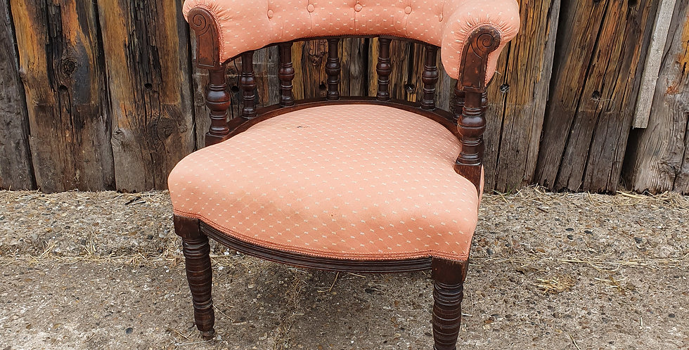 Antique Horseshoe Upholstered Victorian Armchair Vintage Bedroom Chair