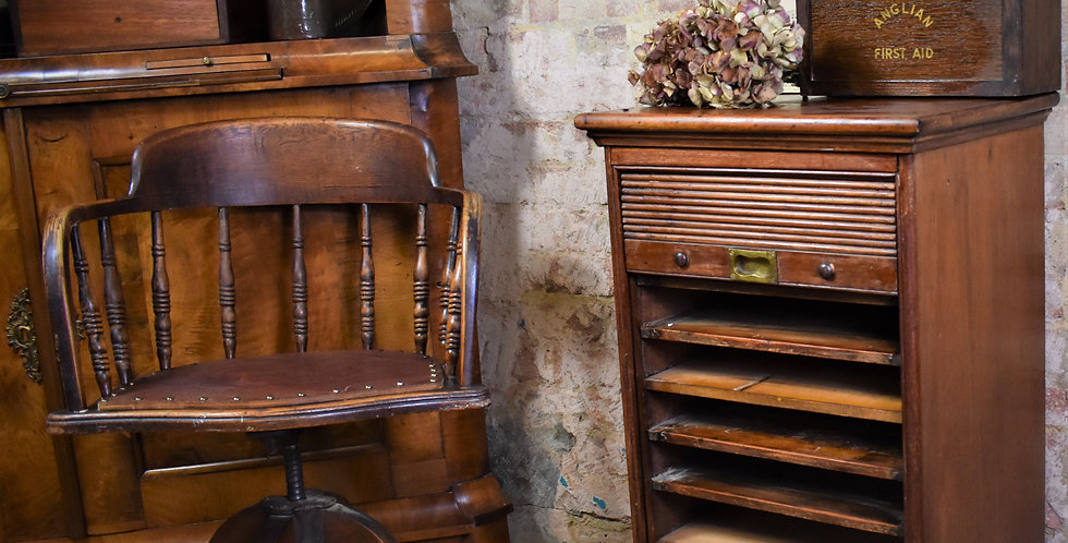 Antique Tambour Fronted Filing Cabinet Oak Pine Victorian Home Office Storage