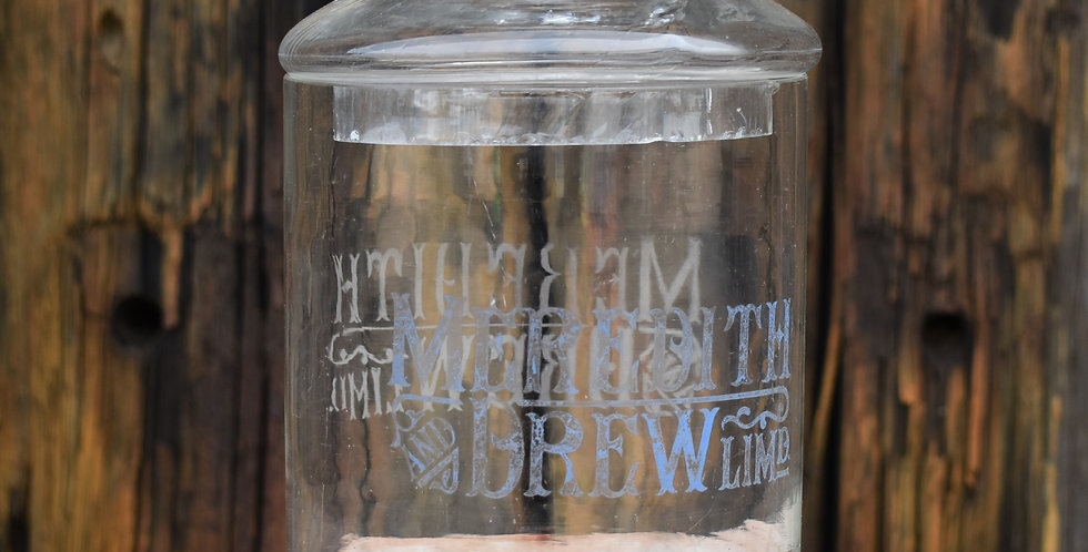 Antique Shop Display Biscuit Jar Glass Meredith and Drew Grocery Etched Glass