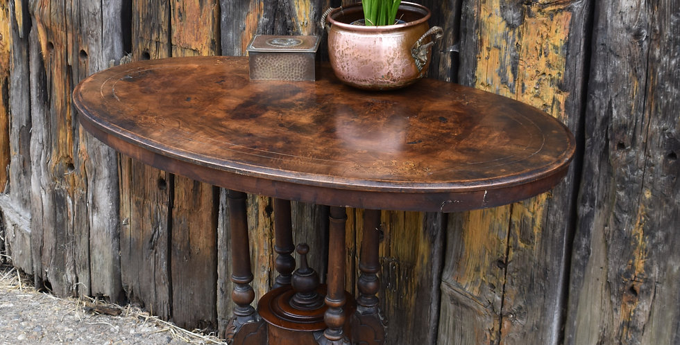 Antique Victorian Walnut Occasional Oval Table Castors Side Table