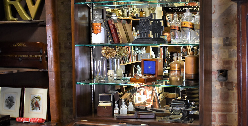 Antique Shop Glazed Display Cabinet Haberdashery Glass Shelves Domed Sections