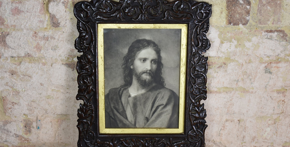 Antique picture of Christ in Dark Oak Black Forest Style decorative frame