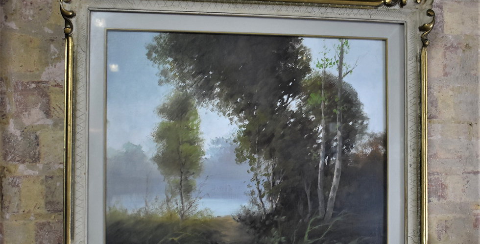 Antique Vintage Winter Trees Oil on Canvas Artist Painting Gilt Frame By Canli