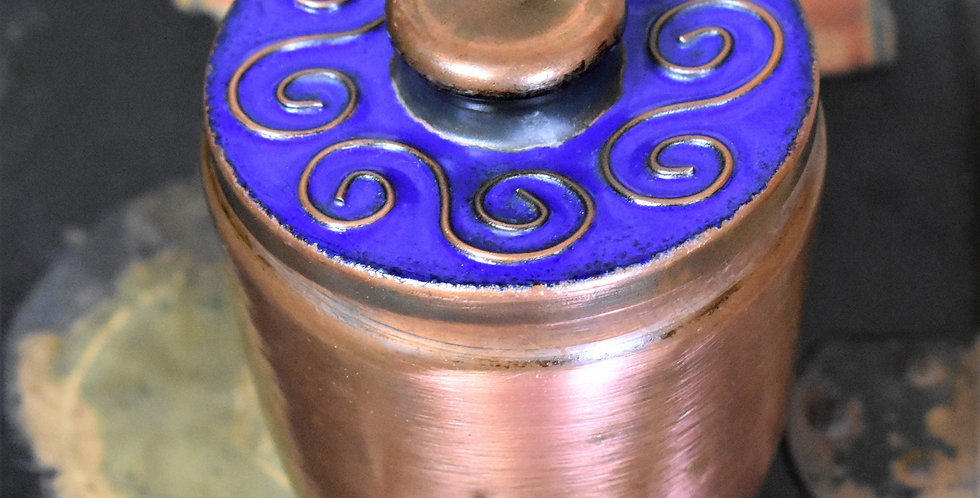 Vintage Decorative Blue Enamel Topped Copper Pot