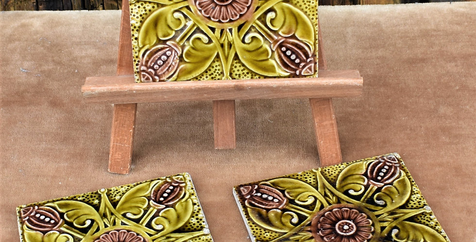 Antique 1900s Brown Westhead More & Co Majolica Art Nouveau Tiles Relief Three
