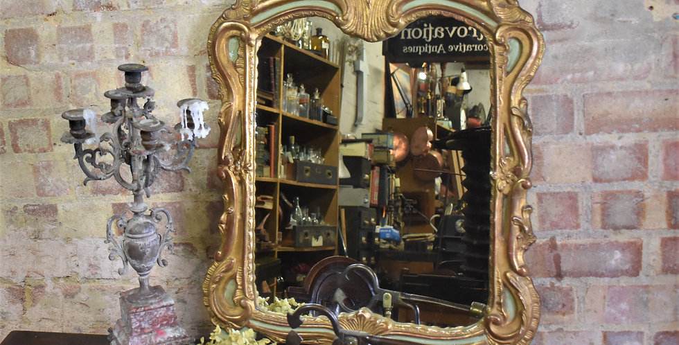 Antique Vintage French Gilt Painted Glass Mirror Bevelled Old Interior Design