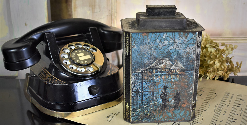 Antique Vintage Huntley & Palmer Chinoiserie Metal Chinese Style Biscuit Tin