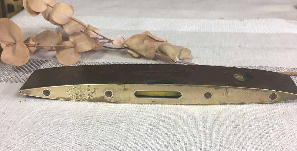 Antique W Marples & Sons Wood & Brass Spirit level