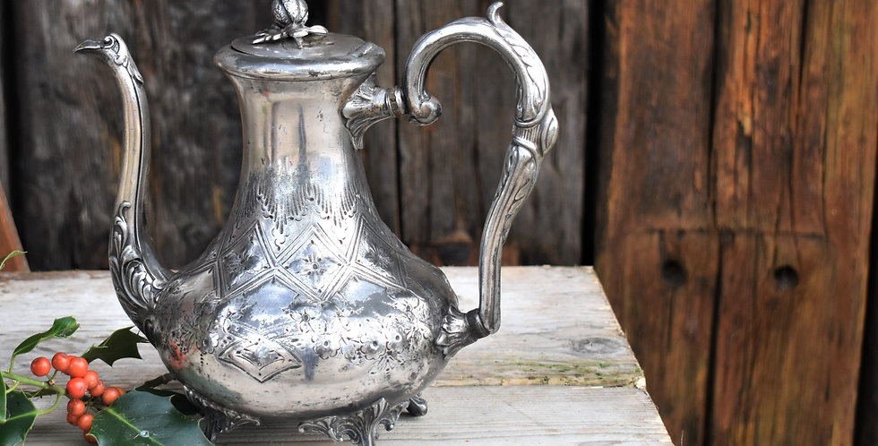 Antique Victorian Silver Plate Teapot by W Harriss Sheffield Engraved Rococo