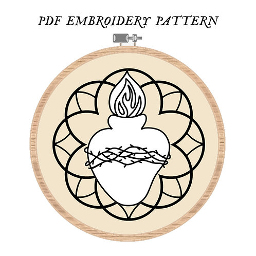 Sacred Heart Embroidery Pattern PDF