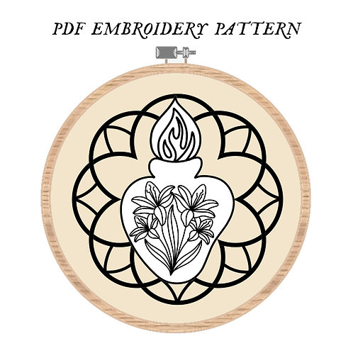 Chaste Heart Embroidery Pattern PDF
