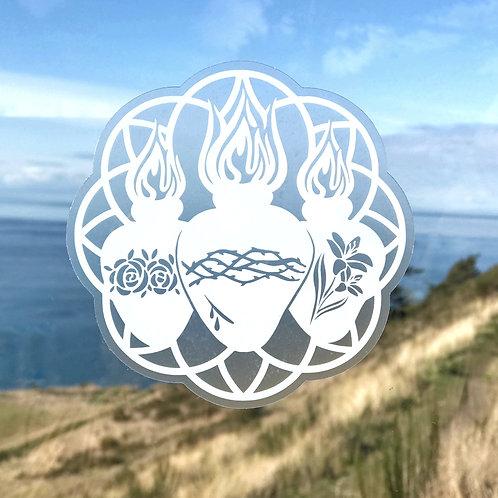 Holy Family Hearts Clear Vinyl Sticker